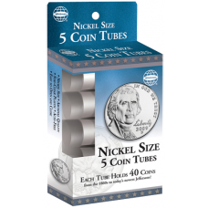 HE Harris Nickel Size Coin Tubes - 5 Pack