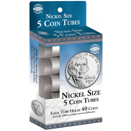 Clear Round Quarter Coin Tubes by HE Harris QTY-5