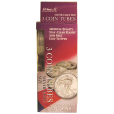 HE Harris American Silver Eagle Size Coin Tubes - 3 Pack