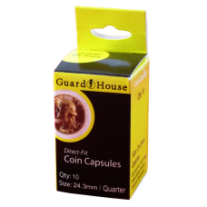 Guardhouse Round Coin Capsules - Quarter Direct fit 10ct Pack